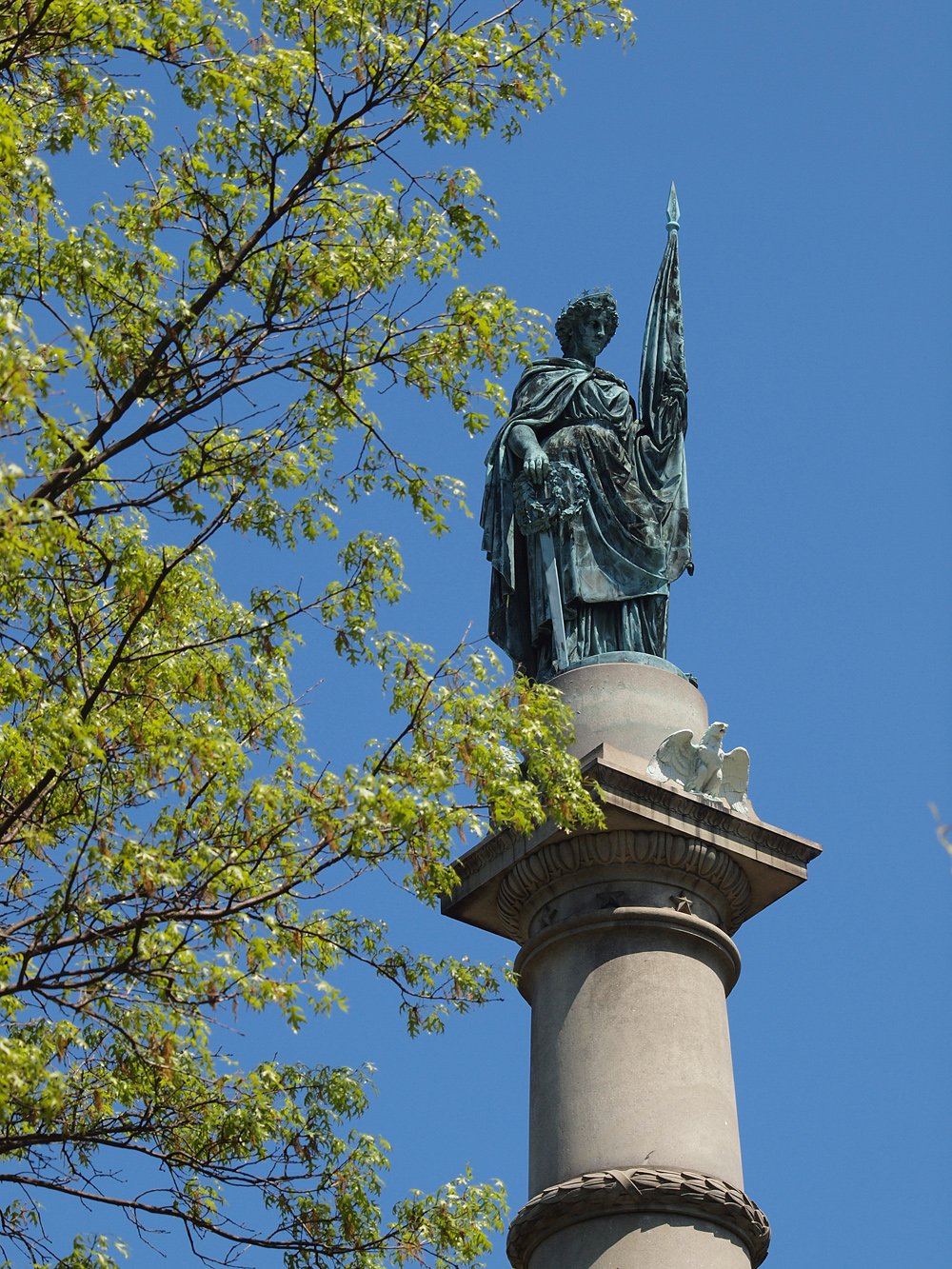 Top Statue of  Soldier and Sailer Civil War Memorial