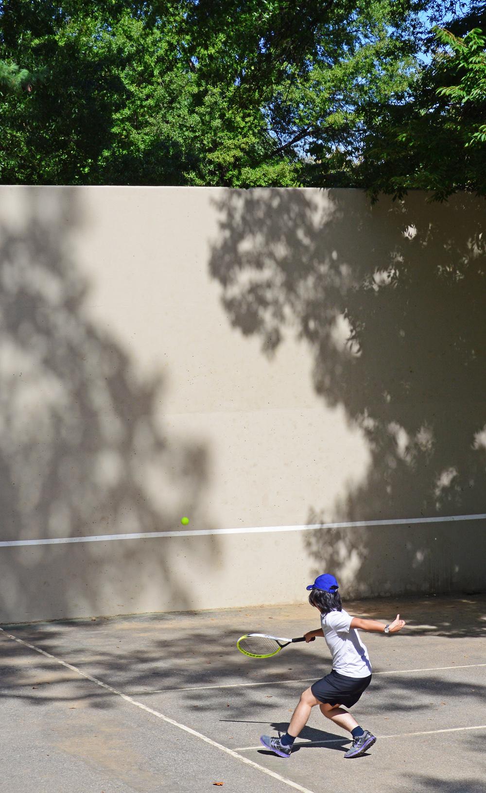Racket in hand